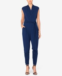 Catherine Malandrino Ruched Faux Wrap Jumpsuit Georgian Navy