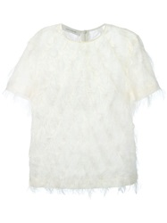 Cedric Charlier Cedric Charlier Short Sleeve Feathered Top