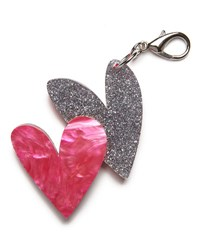 Edie Parker Double Heart Bag Charm Pink Silver