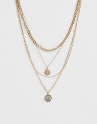 Missguided Mutli Layered Hexagon Pendant Necklace Gold