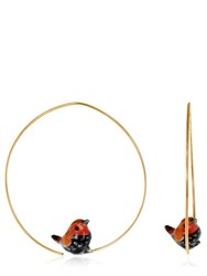 Nach Pink And Black Bird Earrings