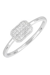 Bony Levy 18K White Gold Pave Diamond Square Ring Size 6.5 0.07 Ctw