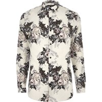 River Island Mens Beige Print Smart Muscle Fit Shirt