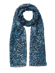 Jigsaw Sophia Shadow Floral Scarf Blue