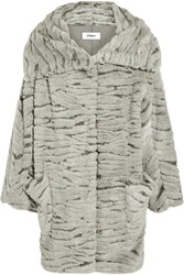 Chalayan Oversized Faux Fur Coat Gray