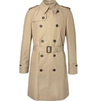 Dunhill Cotton Blend Gabardine Trench Coat Brown