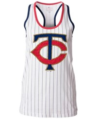 5Th And Ocean Women's Minnesota Twins Pinstripe Glitter Tank Top White