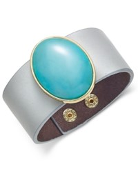 Inc International Concepts Gold Tone Large Stone Wide Faux Leather Bracelet Only At Macy's Turquoise