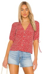 Rails Amelia Blouse In Red. Carmine Daisies