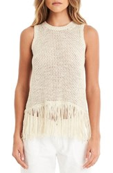 Michael Stars Women's Split Back Fringe Tank