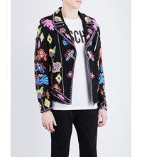 Moschino Embroidered Cotton Jacket Black
