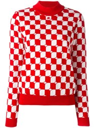 Courreges Checked Sweater Red