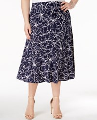 Jm Collection Plus Size Jacquard Midi Skirt Only At Macy's Leaf Flow