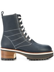 Sies Marjan Lace Up Boots Blue