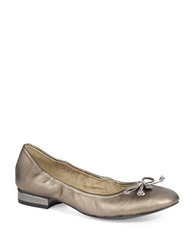 Anne Klein Petrica Leather Bow Tie Flats Dark Pewter