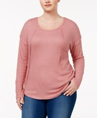 Almost Famous Trendy Plus Size Waffle Knit Top Desert Rose