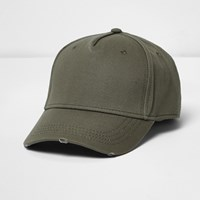 River Island Mens Khaki Distressed Baseball Cap