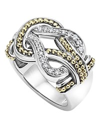 Lagos Sterling Silver And 18K Gold Newport Diamond Ring Silver Gold