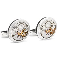 Tateossian Signature Vintage Skeleton Sterling Silver And Enamel Cufflinks Silver