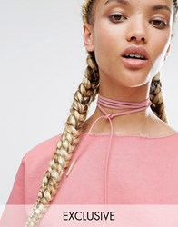 Reclaimed Vintage Wrap Around Choker Pink Blush