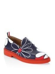 Thom Browne Floral Print Leather Loafers Red Blue