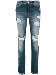 Htc Hollywood Trading Company Distressed Jeans Cotton Spandex Elastane Blue