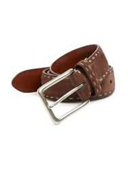 Saks Fifth Avenue Contrast Stitch Suede Belt Medium Brown