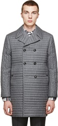 Thom Browne Gray Quilted Down Peacoat