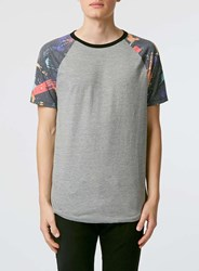 Topman Grey Marl Galaxy Print T Shirt Mid Grey