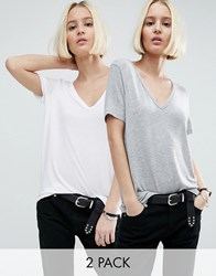 Asos The New Forever T Shirt With Short Sleeves And Dip Back 2 Pack White Grey Multi
