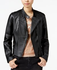 Bar Iii Leather Moto Jacket Only At Macy's Deep Black