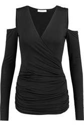 Bailey 44 Cutout Shoulder Wrap Effect Jersey Top Black