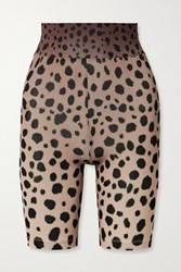 House Of Holland Cheetah Print Stretch Jersey Shorts Brown