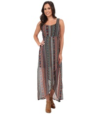 Roper 9758 Aztec Printed Chiffon Dress Black Women's Dress