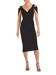Abs By Allen Schwartz Triangle Sleeve V Neck Dress Black