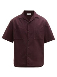 Umit Benan Short Sleeved Cotton Shirt Dark Purple