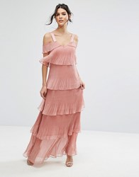 True Decadence Pleated Maxi Dress In Tiers And Cold Shoulder Dusty Pink