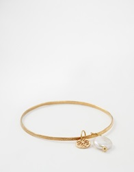 Mirabelle Thin Brass Bangle With Pearl Charm Brasswhitepearl