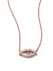 Diane Kordas Diamond Sapphire And 18K White Gold Evil Eye Necklace Rose Gold