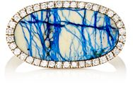 Monique Pean Women's White Diamond And Azurite Oval Faced Ring Colorless