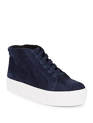 Kenneth Cole Aditi Leather Platform Sneakers Navy