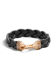 John Hardy Classic Chain Braided Leather Hook Bracelet Black