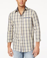 Sean John Men's Cotton Plaid Shirt Chambray Blue