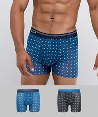 Selected Homme 2 Pack Trunks In Mixed All Over Print Dark Sapphire Multi