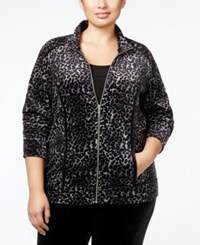 Karen Scott Plus Size Animal Print Velour Jacket Only At Macy's Deep Black