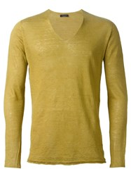Roberto Collina V Neck Sweater Yellow And Orange