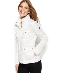 Vince Camuto Faux Leather Trim Quilted Utility Jacket Off White