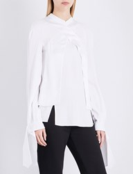 Antonio Berardi Asymmetric Crepe Satin Blouse White