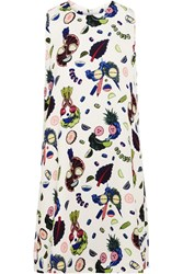 Opening Ceremony Fruit Face Printed Crepe Mini Skirt White