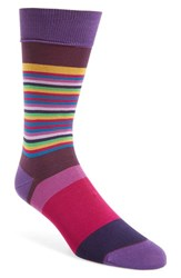 Bugatchi Men's 'Thin Stripe Bold Stripe' Socks Plum